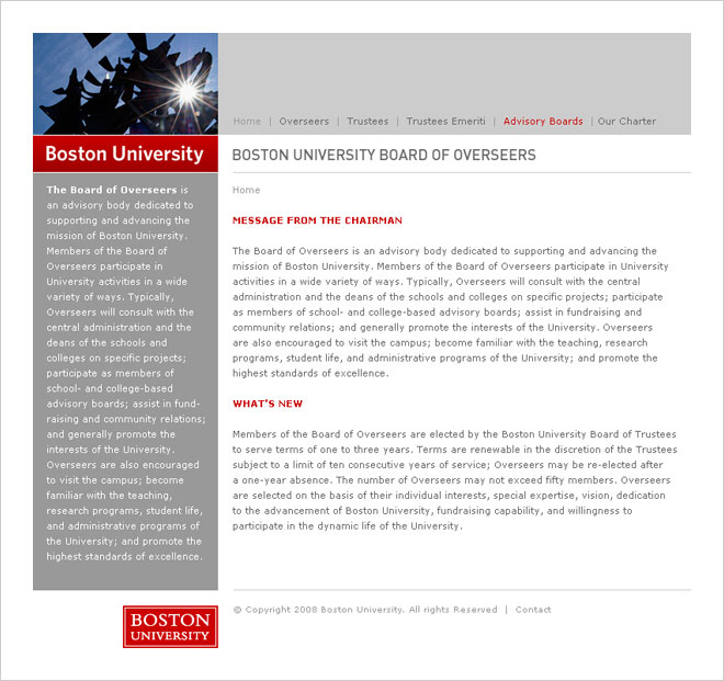 Boston University Board of Overseers microsite design